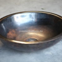 Bronzed copper double wall basin