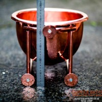 Copper deep wash hand basin showing mountings