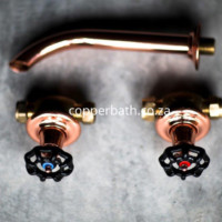 Industrial flush taps and shower spout in copper brass and nickel