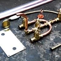 Floor plate stand pipes bath mixer and hand shower