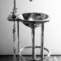 Nickel stand, basin and mixer, customised on inquiry