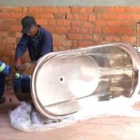 Nickel on copper bath being installed