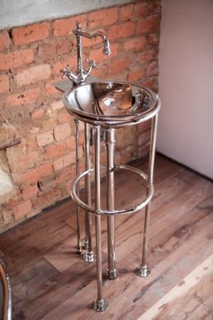 Nickel plated copper stand pipes mixer and basin