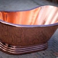 Copper bath, single slipper 170 cm