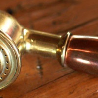 Hand shower available in copper brass, or a mix, or alternatively in nickel